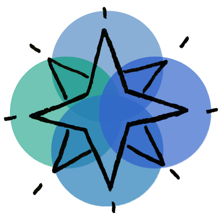 blue compass shaped logo